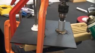 How to drill large holes in metal using a hole saw and pillar drill