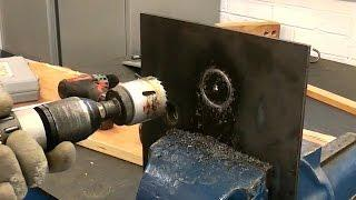 Cut large holes in metal using holesaws